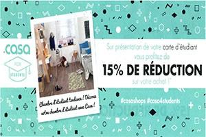 15% de réduction pour les étudiants
