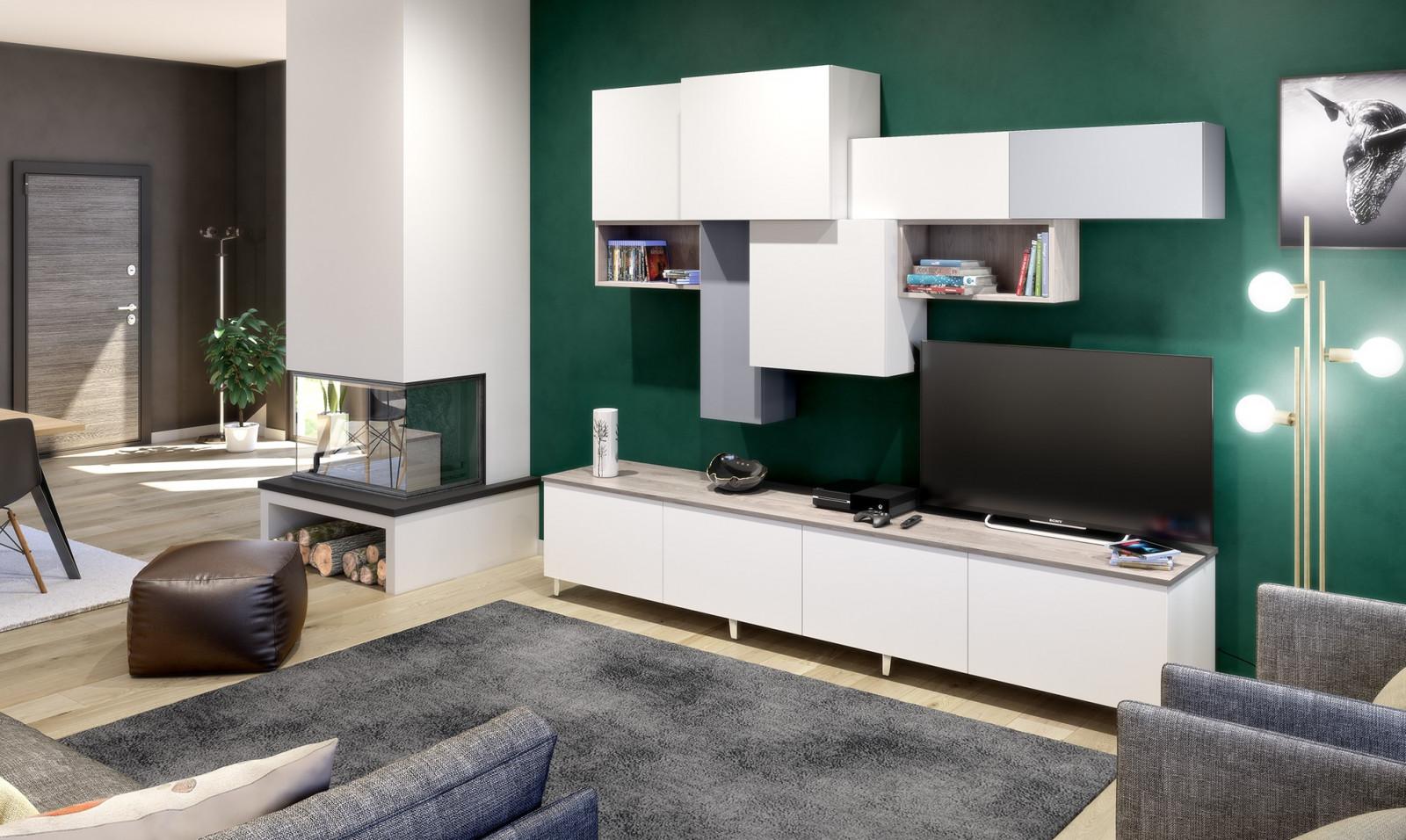Espace TV avec rangements optimisés